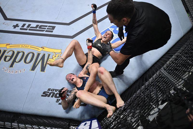 Jennifer Maia of Brazil celebrates after her submission victory over Joanne Calderwood