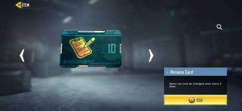 Name change card in COD Mobile