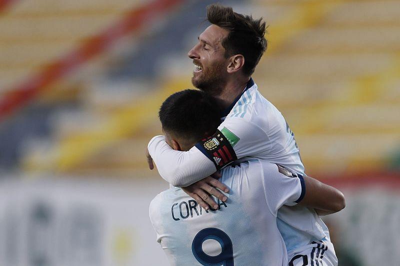 Lionel Messi celebrates after Joaquin Correa scored Argentina