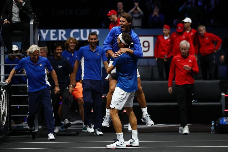 Rafael Nadal and Roger Federer during the Laver Cup