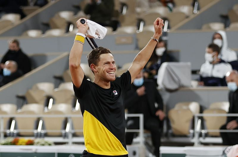 Diego Schwartzman celebrates after beating Dominic Thiem at the 2020 French Open, which helped him set up a rematch with Rafael Nadal