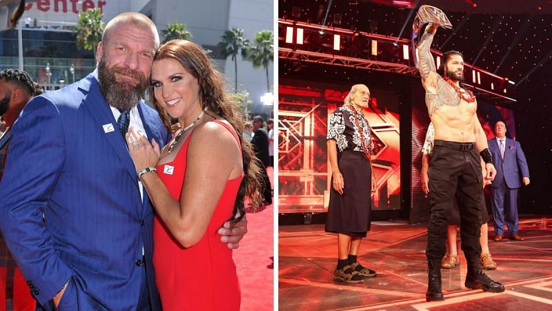 Triple H & Stephanie McMahon (left); Roman Reigns (right)