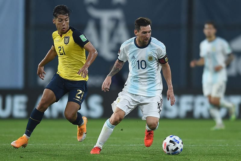 Lionel Messi in action against Ecuador