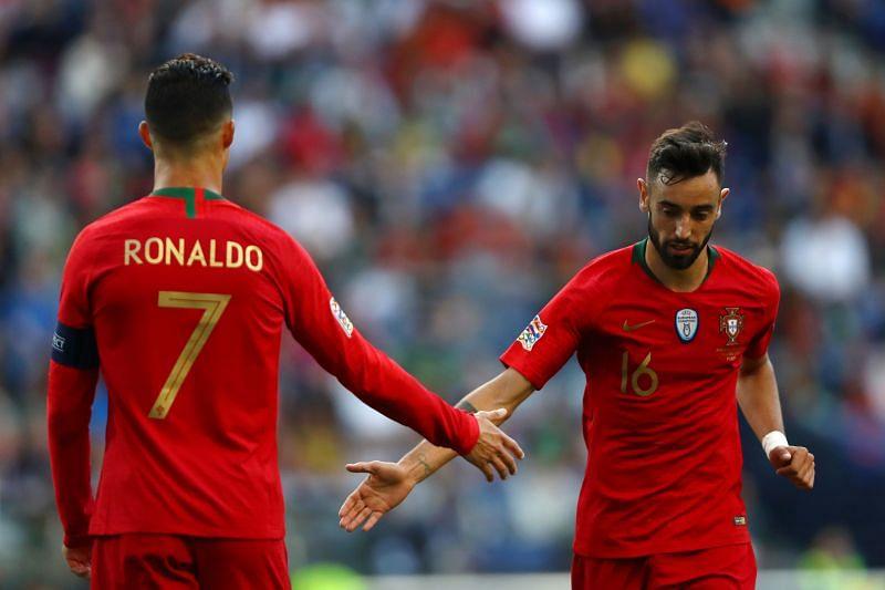 Bruno Fernandes and Cristiano Ronaldo for Portugal