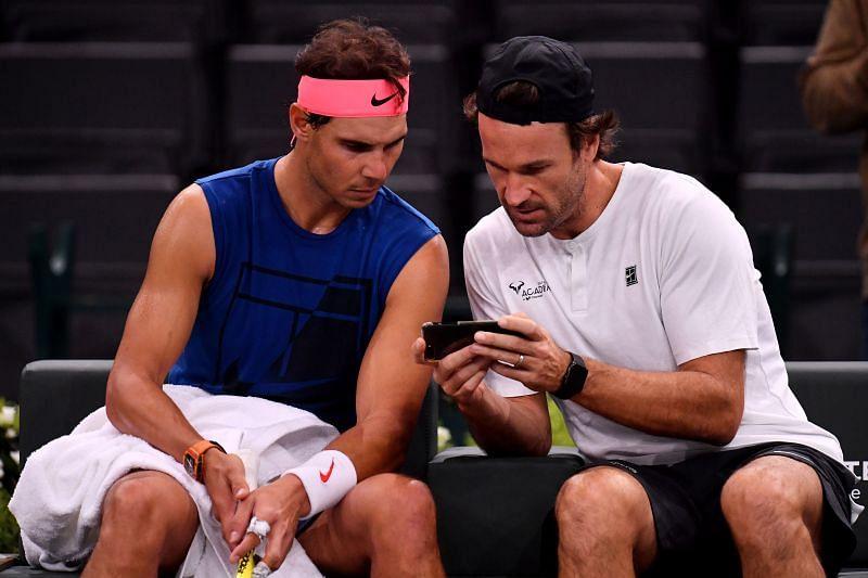 Rafael Nadal with coach, Carlos Moya at the Paris Masters in October 2018