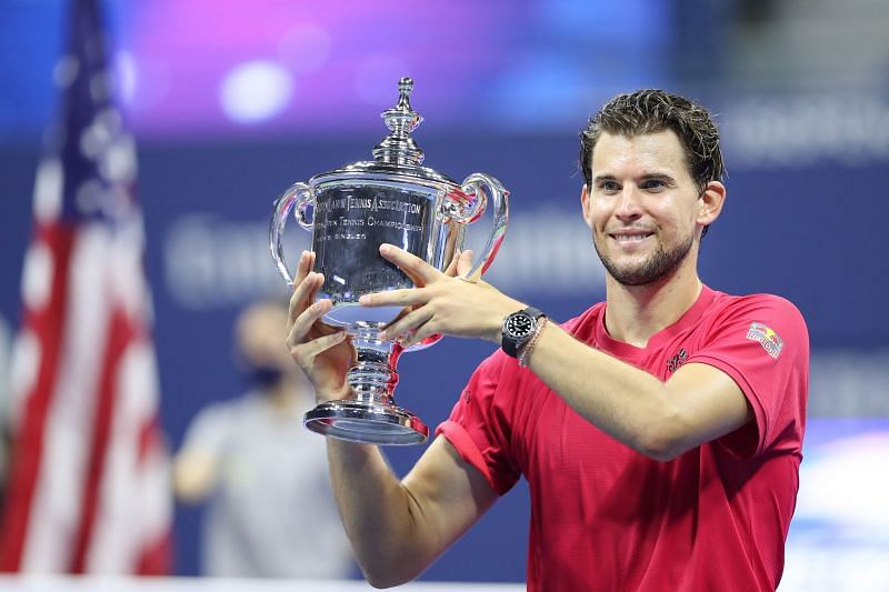 Dominic Thiem celebrates with the 2020 US Open title