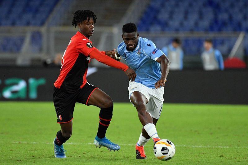 Eduardo Camavinga (left) in action for Stade Rennes