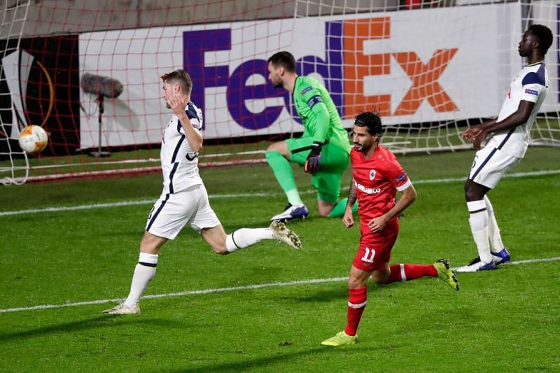 Tottenham suffered their first loss in 11 games against Royal Antwerp.