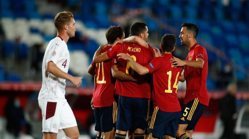 Spain pounced on a Swiss error to claim all three points in Madrid