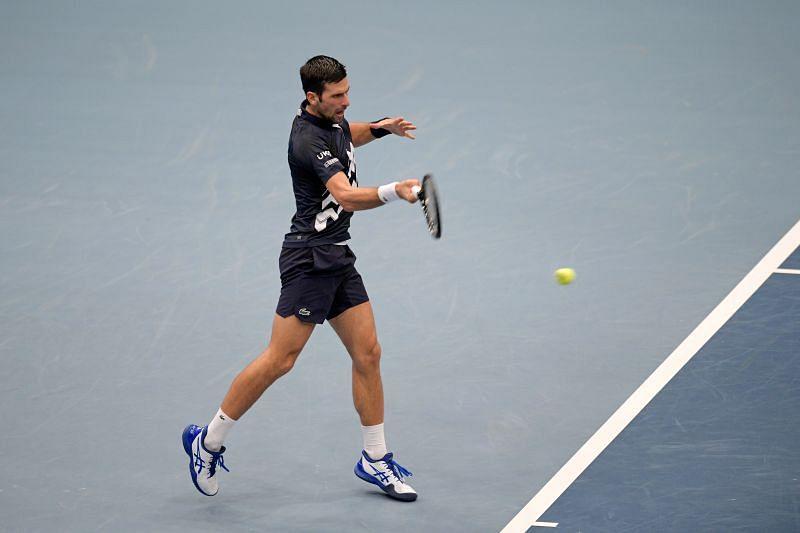 Novak Djokovic during his first round win at the Erste Bank Open tournament in Vienna, Austria.