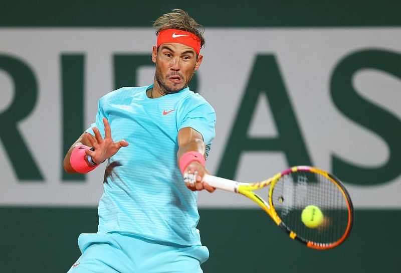 Rafael Nadal in action against Jannik Sinner at the French Open