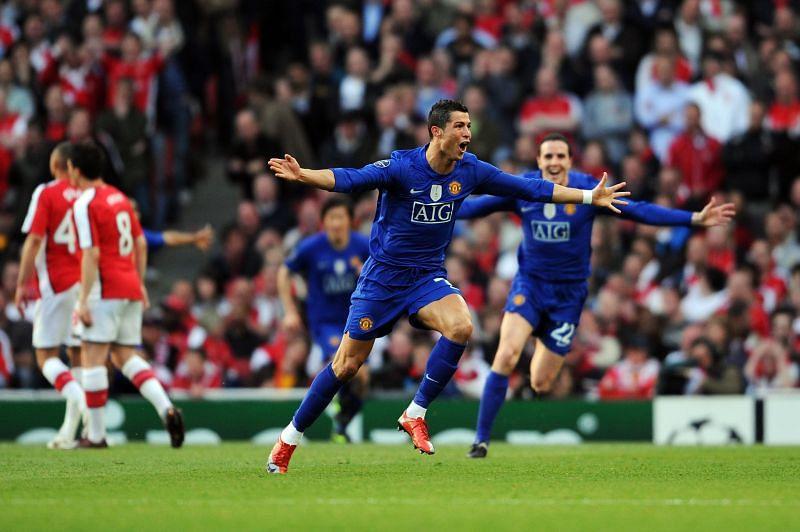 Cristiano Ronaldo celebrates after scoring against Arsenal