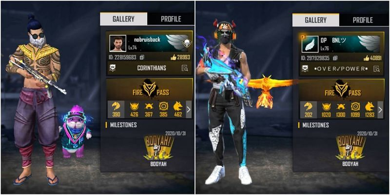 Who has better stats between Nobru and BNL in Free Fire?