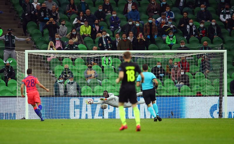Krasnodar forced an early save from Edouard Mendy in the first half.