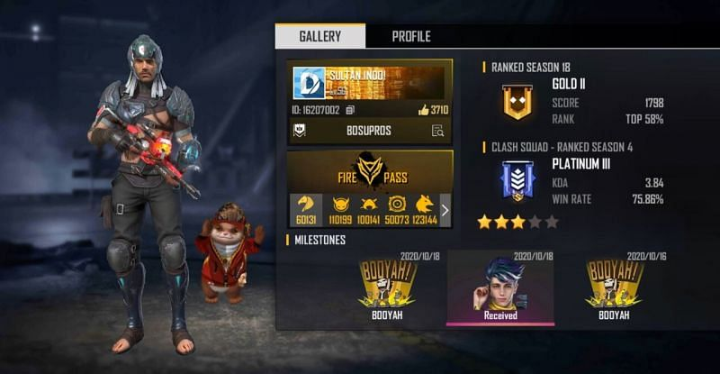 Sultan Proslo Free Fire ID, lifetime stats, and other details