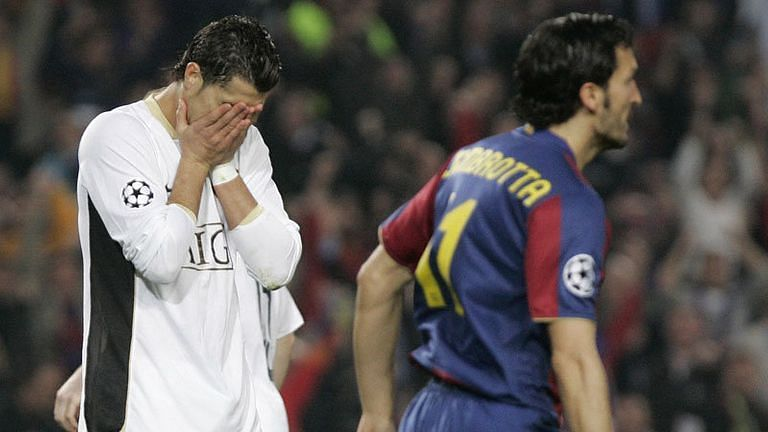 Cristiano Ronaldo buries his head in his hands after missing a penalty at the Camp Nou.