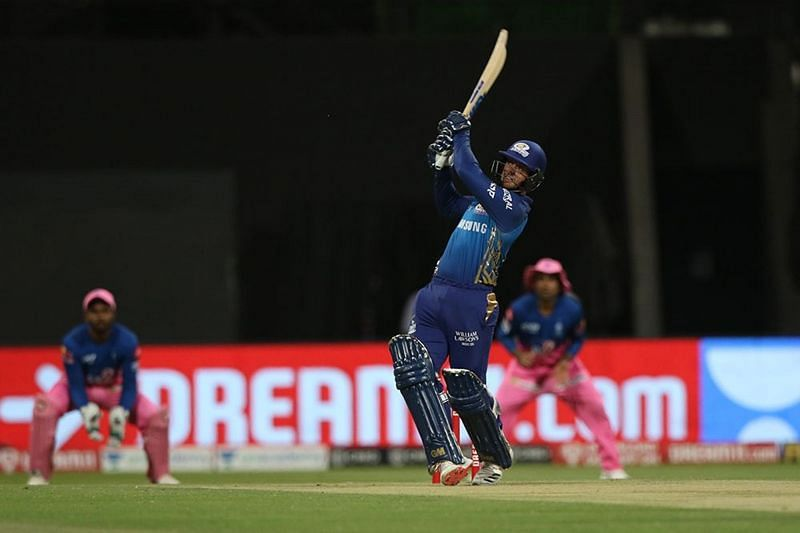 Quinton de Kock went for a glorious shot before playing onto his stumps next ball. [PC: iplt20.com]