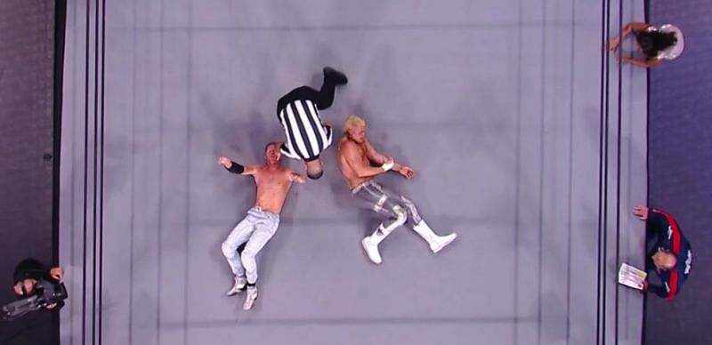 An overhead shot of the battle that took place between Orange Cassidy and Cody