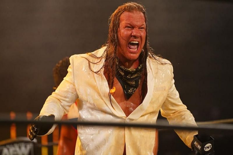 Chris Jericho reacts accordingly to these old photos (Pic Source: AEW)