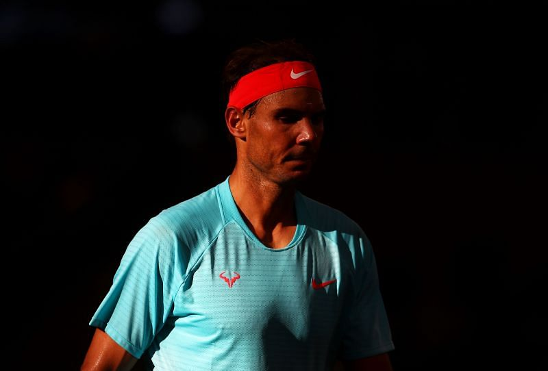 Rafael Nadal during the 2020 French Open Final in Paris, France