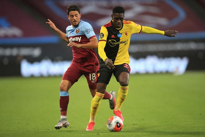 Sarr in action for Watford in the Premier League