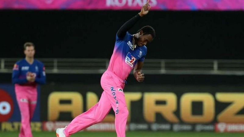 Jofra Archer celebrates a wicket for the Rajasthan Royals