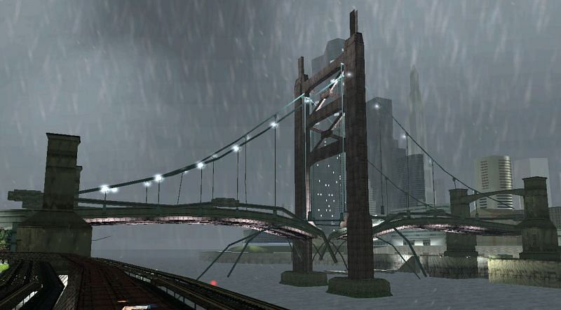 Callahan Bridge in GTA 3 is destroyed at the start of the game to lock that area off.