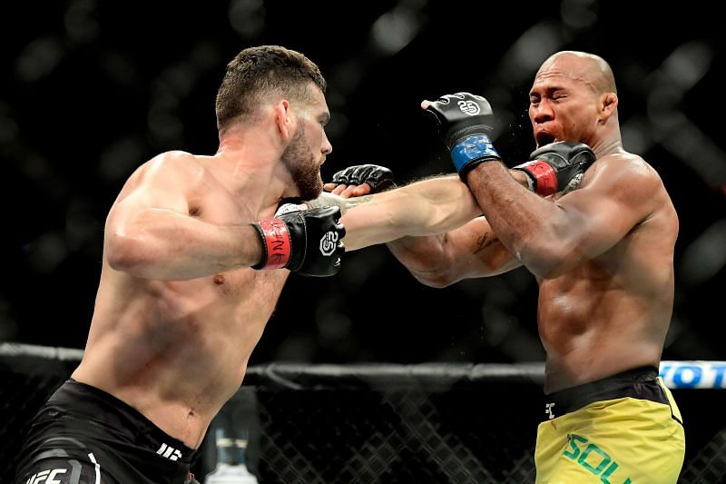 Chris Weidman of the United States fights against Jacare Souza of Brazil