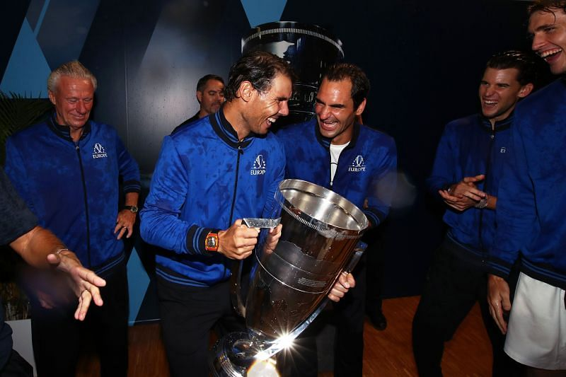 Rafael Nadal and Roger Federer after winning the Laver Cup 2019