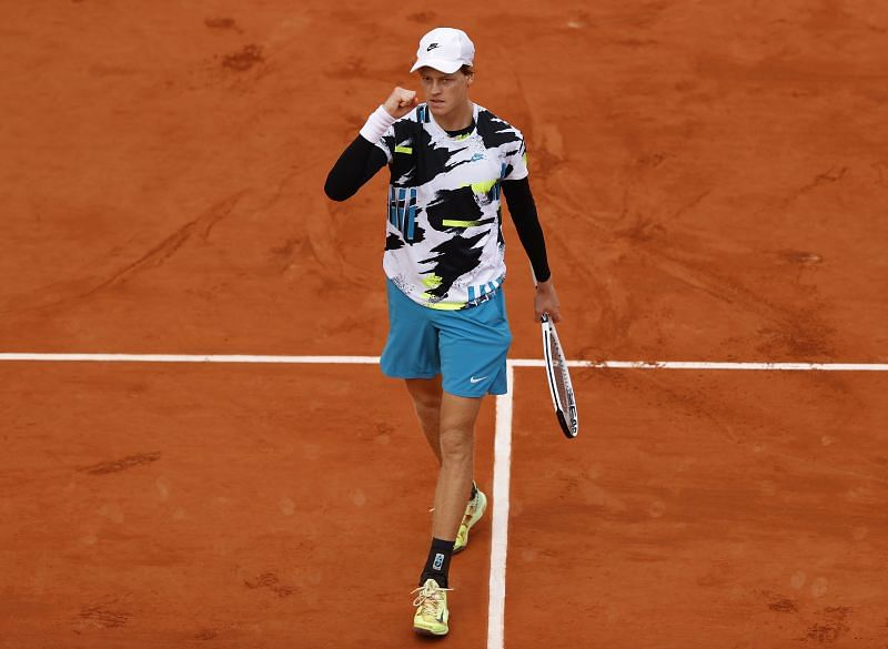 Jannik Sinner celebrates after his fourth round match against Alexander Zverev at the French Open
