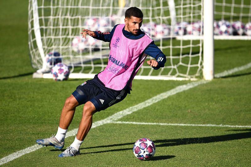 Houssem Aouar in Lyon training ahead of Champions League semi-final against Bayern Munich.