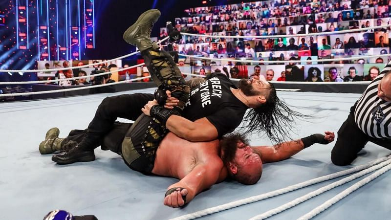 Roman Reigns pinned Strowman to become the Universal Champion at Payback