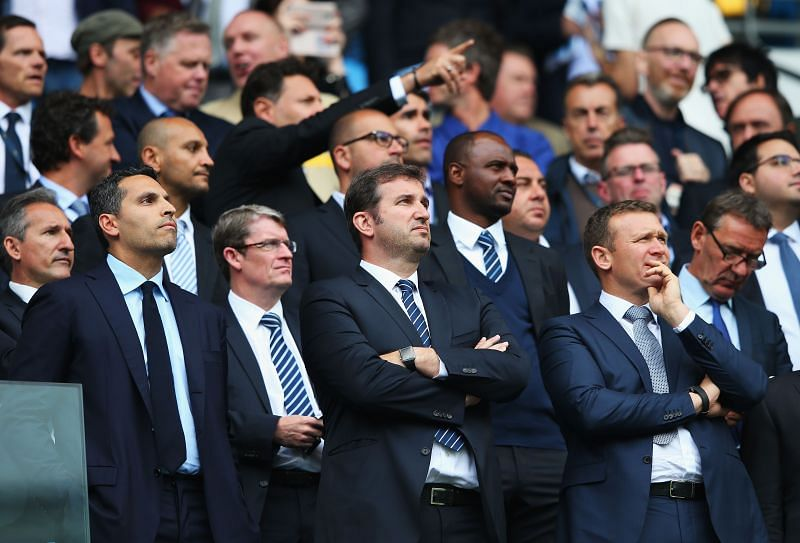 Ferran Soriano, CEO of Manchester City (front and centre), has criticised the Premier League for not allowing five substitutes in every game