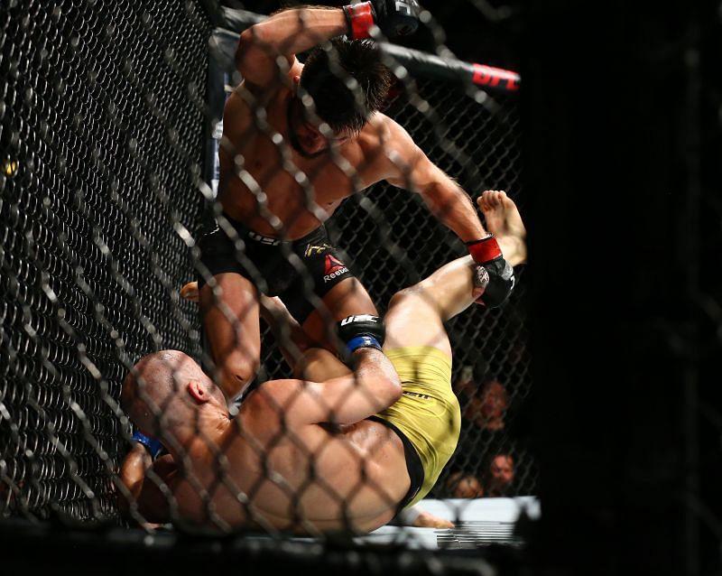 Henry Cejudo dishing out punishment to Marlon Moraes