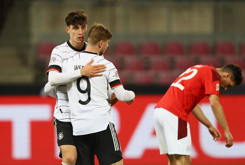 Chelsea stars Werner and Havertz were on target for Germany [Image courtesy: @DFB_Team_EN]