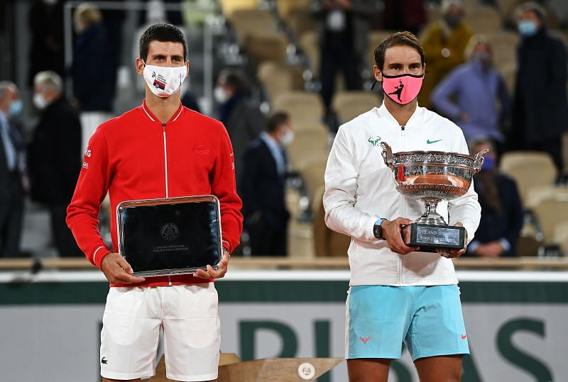 Novak Djokovic (L) and Rafael Nadal after the Roland Garros 2020 final.