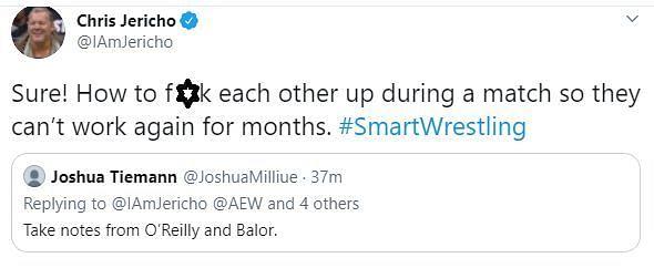 Chris Jericho is not pulling any shots (Pic Source: Screenshot Twitter)
