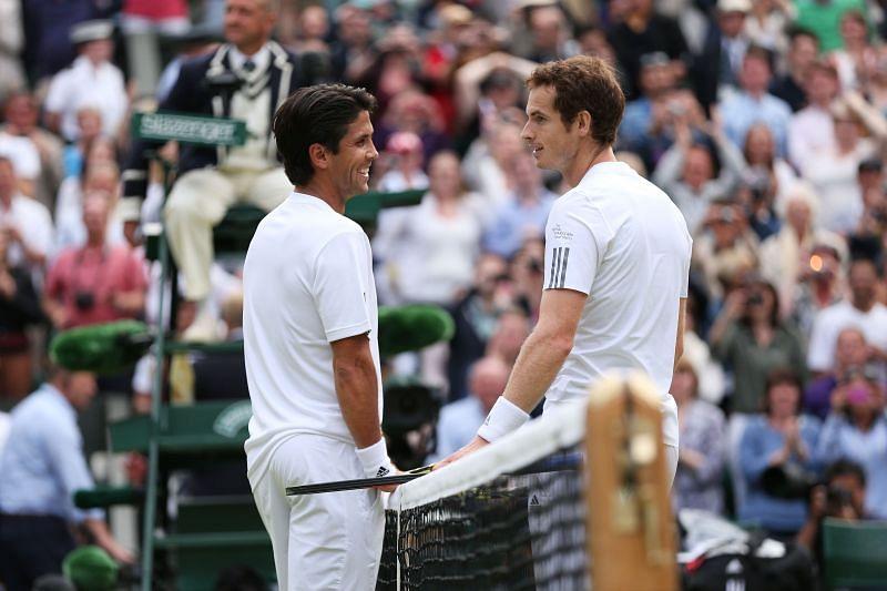 Fernando Verdasco (L) and Andy Murray