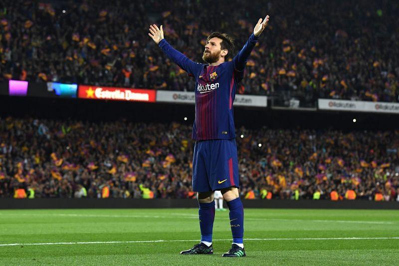 Lionel Messi celebrates against Real Madrid