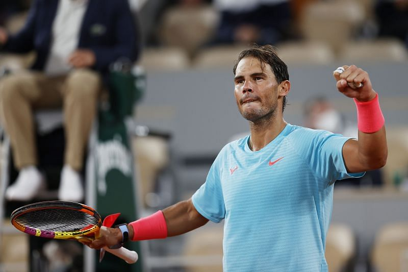 Rafael Nadal celebrates after his third round win against Stefano Travaglia at the French Open.
