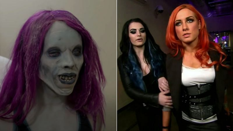 Sasha Banks (left); Paige and Becky Lynch (right)