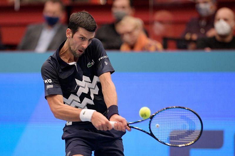 Novak Djokovic at the Erste Bank Open tennis tournament in Vienna, Austria.