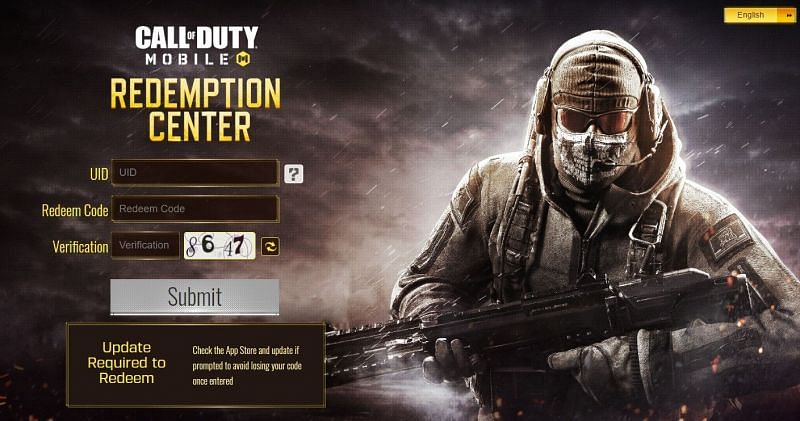 Official redemption center of COD Mobile (Image Credits: www.callofduty.com/redemption)