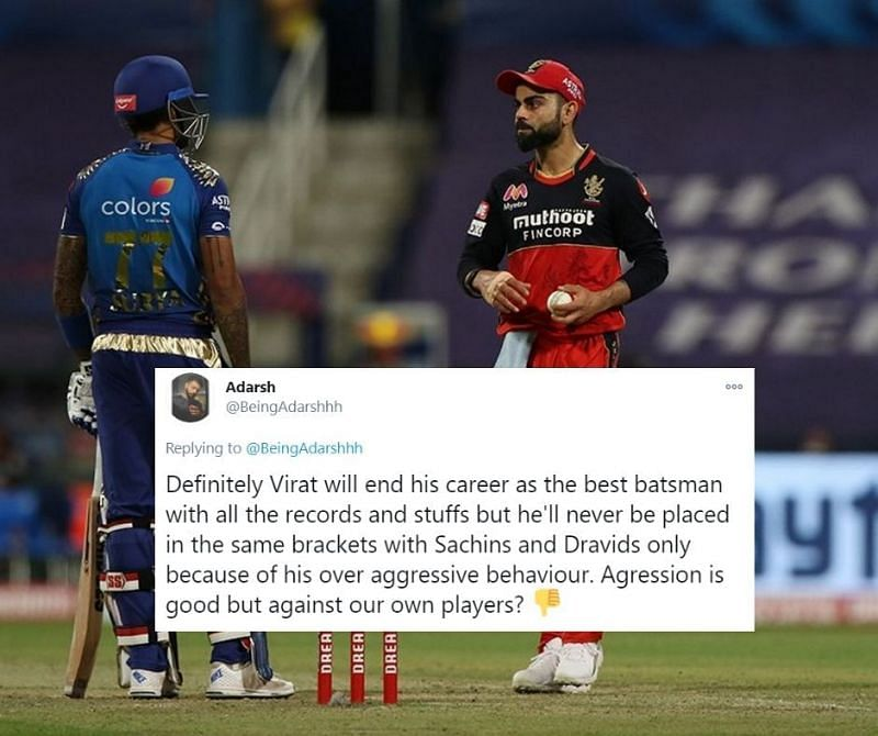 Virat Kohi and Suryakumar Yadav exchanged stares at the end of the 13th over