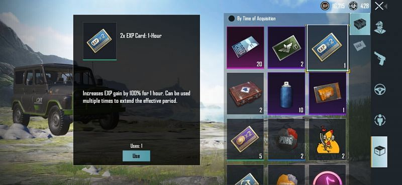 EXP cards in PUBG Mobile