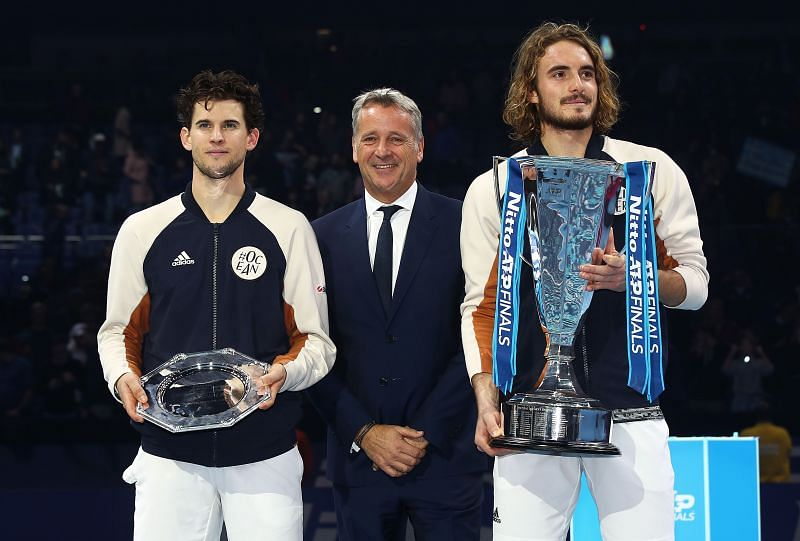 Stefanos Tsitsipas with the trophy after his victory over Dominic Thiem at the Nitto ATP Finals in London