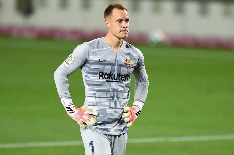 Marc-Andre Ter Stegen is missing from the Barcelona team as he recovers after a knee surgery.