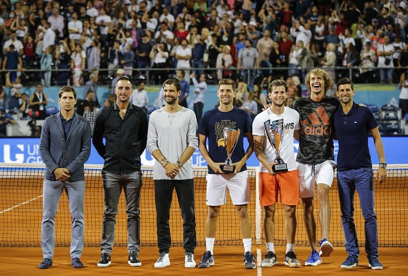 Novak Djokovic and Filip Krajinovic with the rest of the players at the Adria Tour