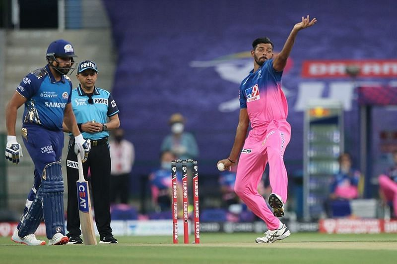 Ankit Rajpoot was taken to the cleaners in the three overs he bowled.