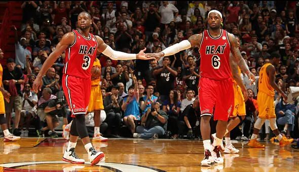 Dwyane Wade (#3) and LeBron James (#6) while playing for the Miami Heat